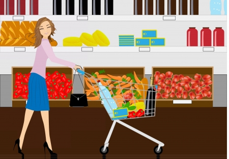 the woman with the cart buys ingredients for food Vector