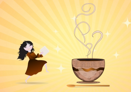 the girl with a piece of sugar goes to a cup Stock Vector - 18460186