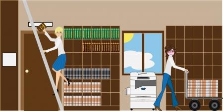 two beautiful girls sorting books Vector