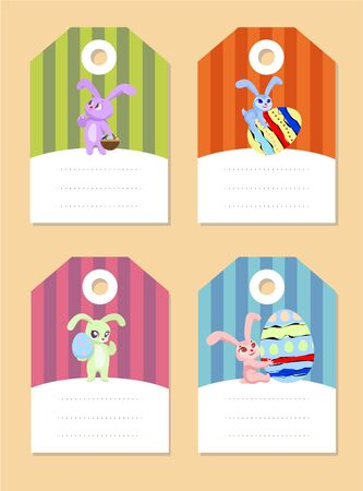 thoughtfulness: set of easter rabbits with eggs