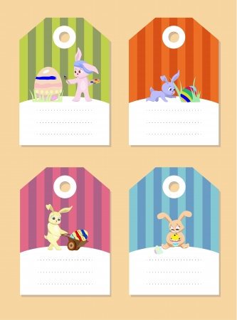 set of easter rabbits with eggs Vector