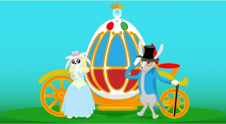 two fantastic rabbits stand near the carriage egg Stock Vector - 18539942