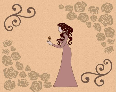 the long-haired girl holds a flower Vector