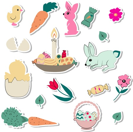 set of easter pictures Vector