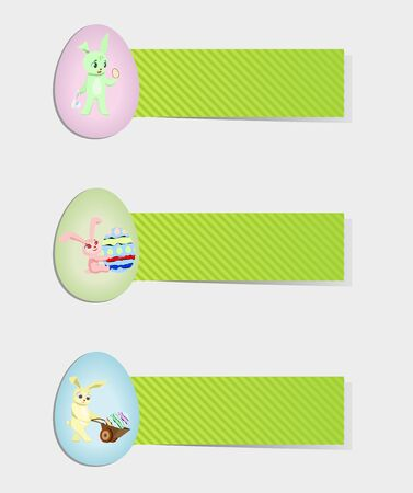 rabbit hole: set of easter rabbits with eggs
