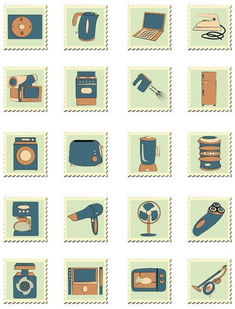 double boiler: set of household appliances on stamps