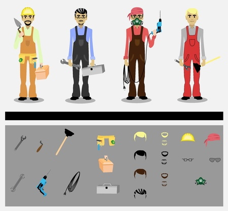 set of workers with tools Vector
