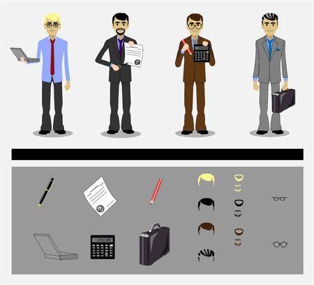 set of businessman: set of businessman with tools