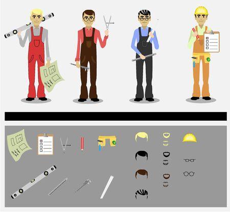 set of engineers with tools Vector