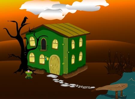 mooring: fantastic green lodge at night