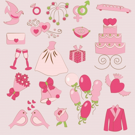 set of gentle wedding icons Vector