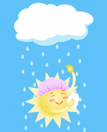 vigorous: the sun takes a shower from a rain Illustration