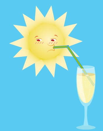 aerated: the sun drinks aerated water from a glass Illustration