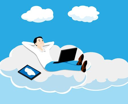 the person with the computer lies on a cloud Vector