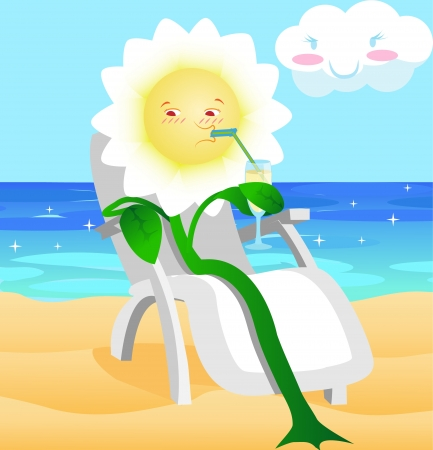chaise: the flower in a chaise lounge sits ashore
