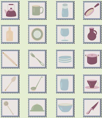 pepperbox: set of illustration utensil on stamps