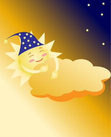 the sun in a cap sleeps, having taken cover a cloud Vector
