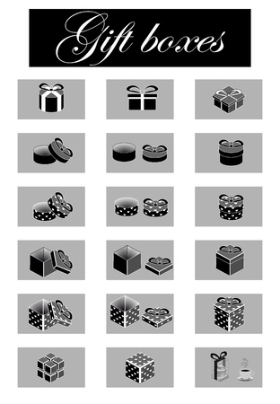 set of black-and-white gift boxes Vector