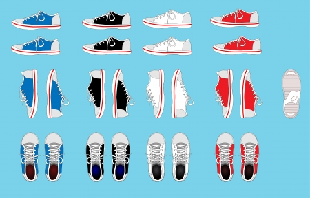set of color sneakers Stock Vector - 19114459