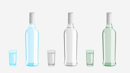 set of bottles and glasses Vector