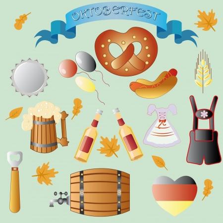 comida alemana: conjunto de temas vectoriales para octoberfest