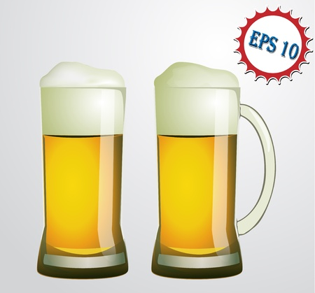 two glasses of beer Stock Vector - 19188261