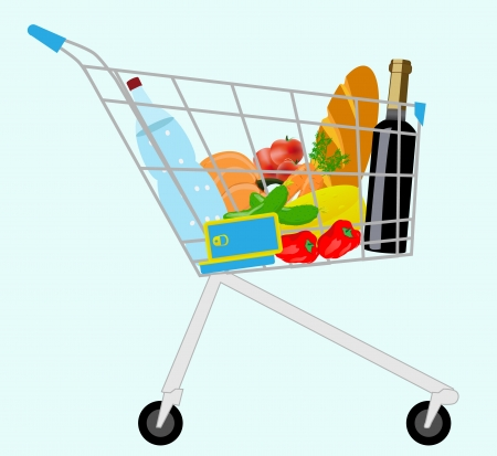 cart with a set of products Stock Vector - 19262311