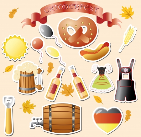oktober: set of vector subjects for octoberfest