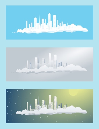 set of the cities on a cloud Stock Vector - 19264190
