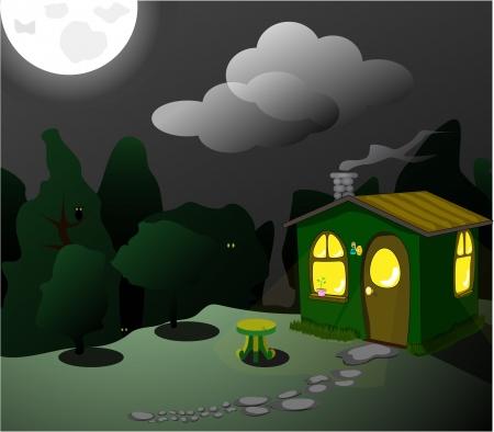 fantastic green lodge at night Vector