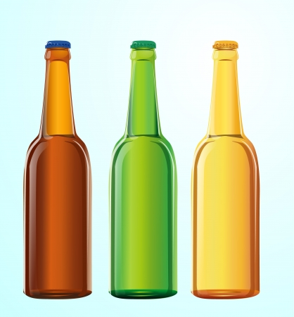 brewage: three vector bottles with beer