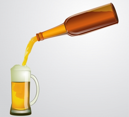 beer from a bottle flows in mug