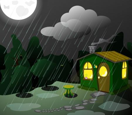 fantastic green lodge at night Stock Vector - 19490643