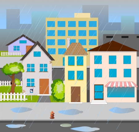 the street with houses trees road Stock Vector - 19490642