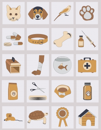 set of veterinary vector icons Vector