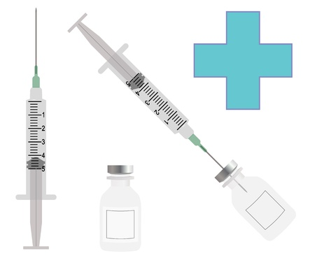 heroin: syringe with bottle Illustration