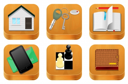 Wood icons Stock Vector - 20081109
