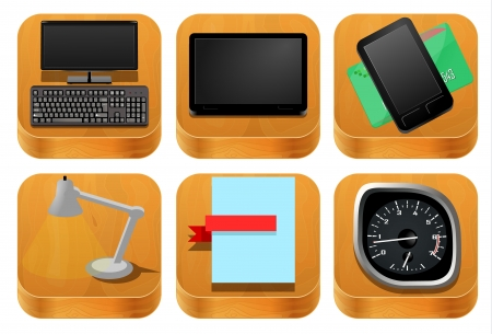 Wood icons set Stock Vector - 20081110