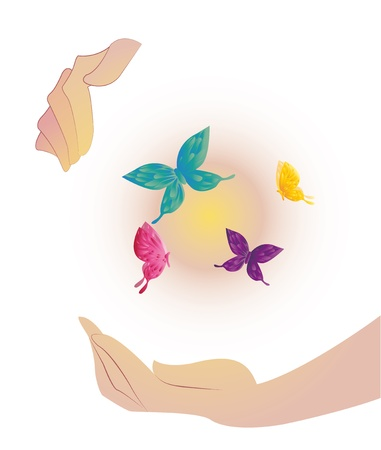 Being shone sphere with butterflies in hands Stock Vector - 20325882