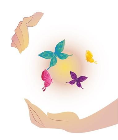 Being shone sphere with butterflies in hands Stock Vector - 20325882