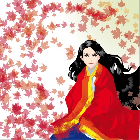 chinese dress: the beautiful girl in a kimono with falling leaves Illustration