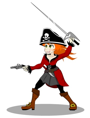 pirate girl: pirate woman  Stock Photo