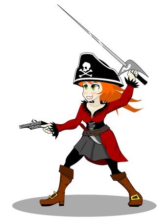 girl with gun: pirate woman  Stock Photo