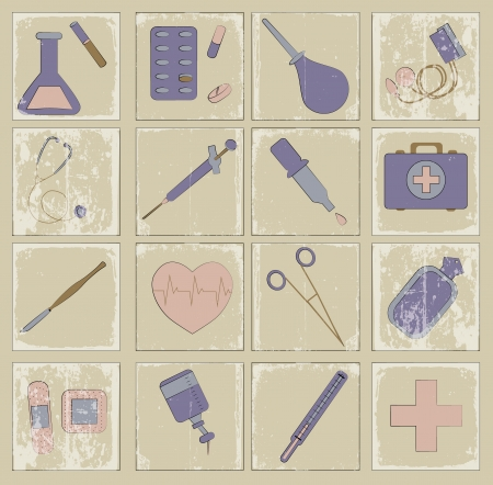 retro vector icons medicine Stock Vector - 20758051