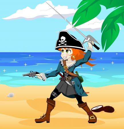 Fille de pirate sur la plage Banque d'images - 20758116