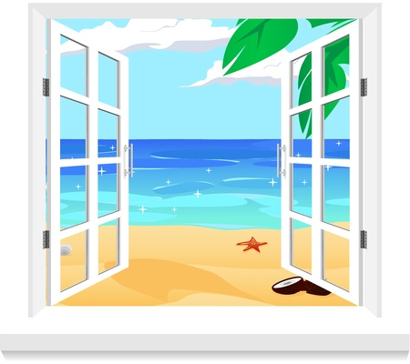 ocean view: view from twindow vector