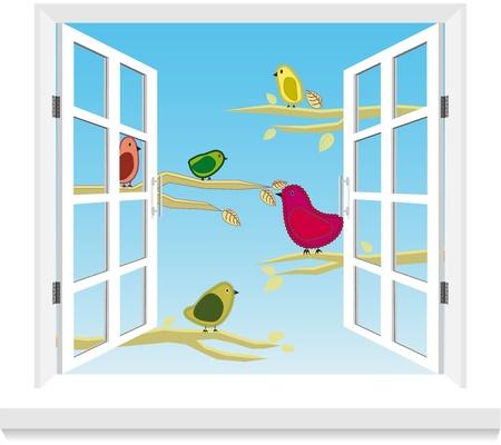 open window: Birds in the window vector Illustration