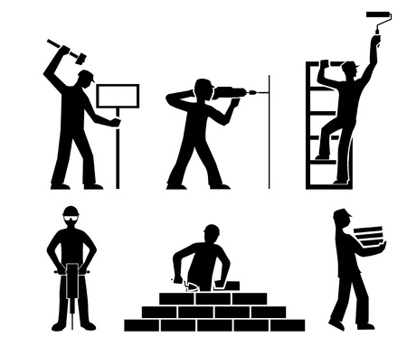 straighten: set builders outline vector Illustration