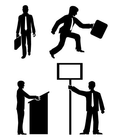 hustings: Business people silhouette vector