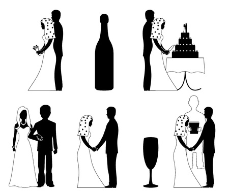 wedding couple silhouette: wedding silhouette set vector